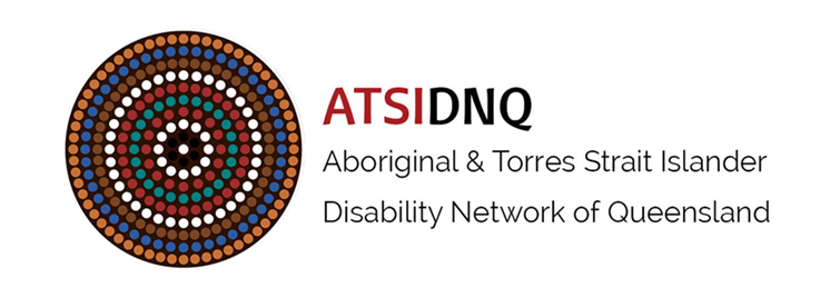 Aboriginal and Torres Strait Islander Disability Network of Queensland: Image of dark brown circle with smaller circles of aboriginal style dot painting in various colours