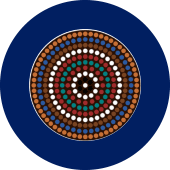 Aboriginal and Torres Strait Islander Disability Network of Queensland: Image of blue circle with smaller circle of aboriginal style dot painting in various colours