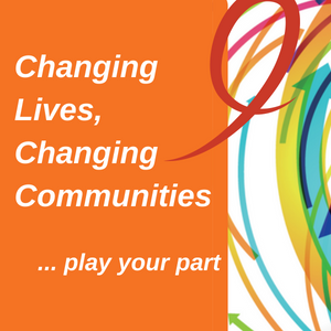 Orange box with the words changing lives, changing communities