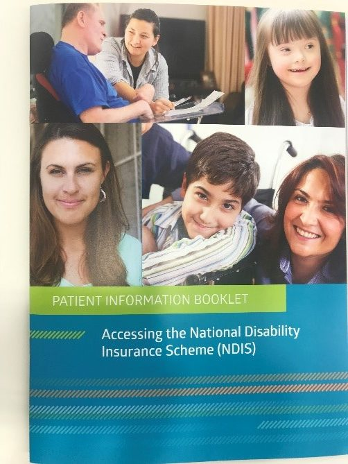 A picture of the front cover of the patient information booklet. There are 3 photos of faces up really close and then the words Patietn Information Booklet