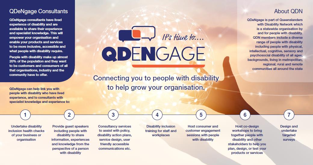 QD engage logo with the words connecting you to people with disability to help grow your organisation