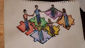 First prize in the art competition with caption We are all connected : Let's include people with disability in every part of the puzzle. Nothing for us unless we are involved.