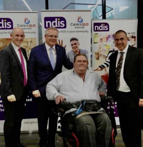 Matt McCracken with Prime Minister Scott Morrison and Minister for NDIS and Government Services Stuart Robert