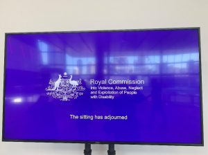 "The Royal Commission signage ""The sitting has adjourned"""