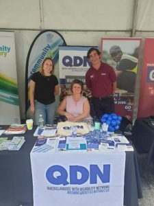 Louise Abson, Lisa Mahony and Jonathon Thurston at QDN's stall at the Get Ready Queensland Launch