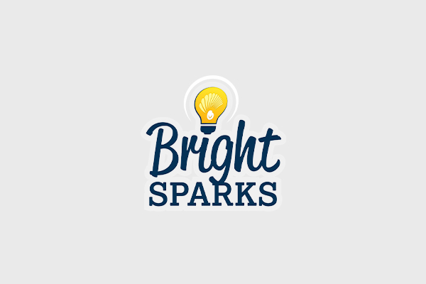 A yellow lightbulb over the words Bright Sparks