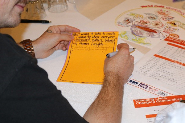 A man's hands holding an orange piece of paper on which is written What would it take to create community where everyone contributes, matters, belongs?