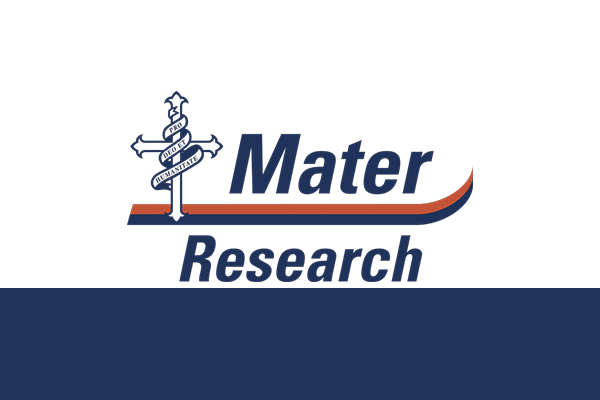 A logo saying Mater Research with a blue and orange strip through the middle and a cross with a ribbon around it.