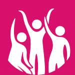 Pink background with a white graphic of 3 people with their hands in the air.