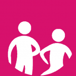 Pink background with a white graphic of 2 people with their elbows touching