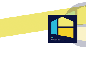 The Building Better Homes logo with a yellow strip behind it. The logo is two shapes put together to look like a house.