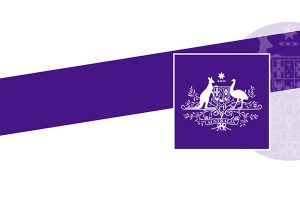 Purple strip and then an Australian Emblem in a purple square