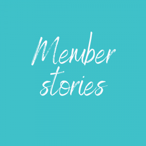 Aqua background with the text Member Stories