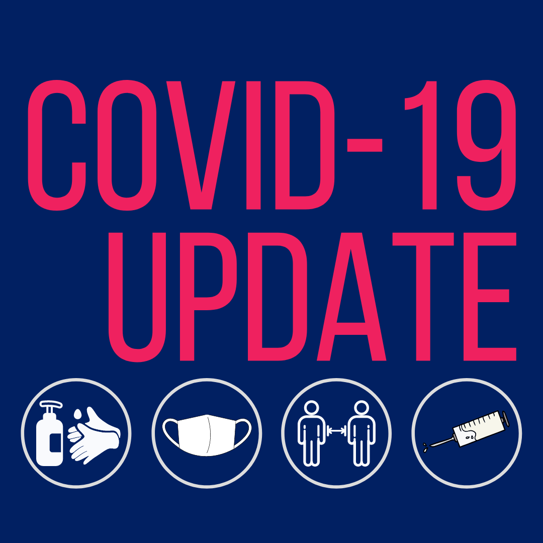Dark blue background with pink text saying Covid-19 Update. Below are four circles with graphics of hand sanitiser, mask, people social distancing and a Covid vaccination needle.