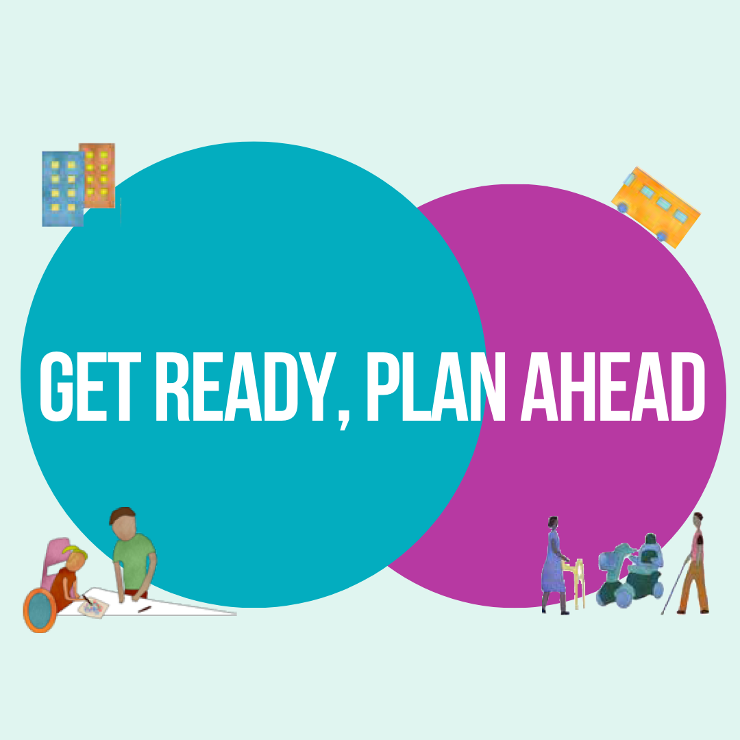 Two circles overlapping, one green and one purple, with the text through the middle in white saying Get Ready, Plan Ahead